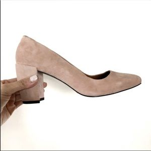 NWT Halston leather suede chunky heel pink 7.5